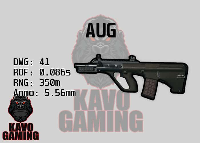 Stats for the AUG in PUBG