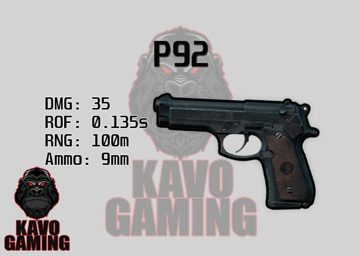 Stats for the P92 in PUBG