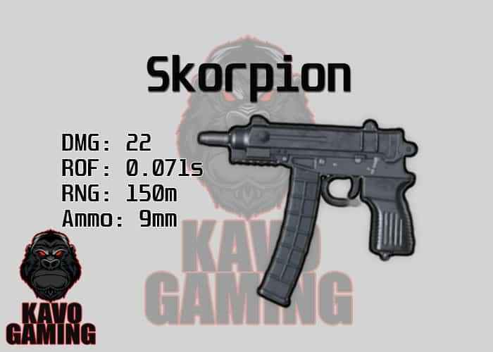 Stats for the Skorpion in PUBG