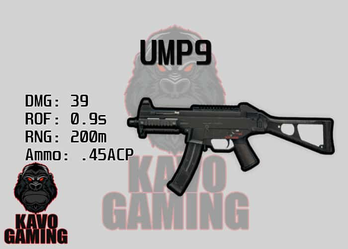 Stats for the UMP9 in PUBG